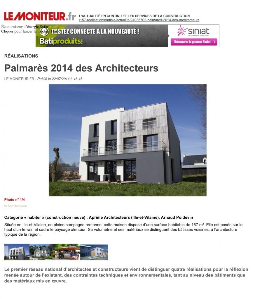 Palmarès 2014 des Architecteurs - Réalisations